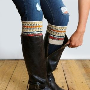Patterned Boot Cuffs Fair Isle print